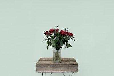 Buket med røde roser